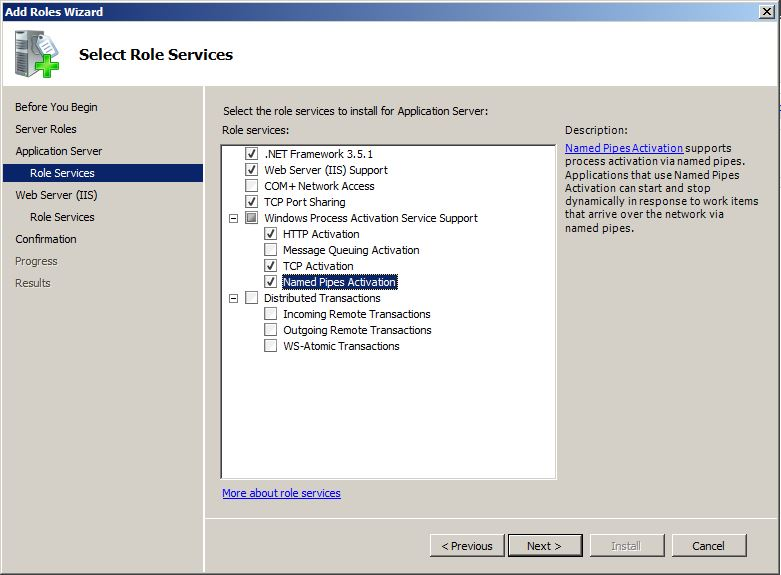 SharePoint Select Role Services