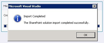 repackage a sharepoint wsp solution import complete