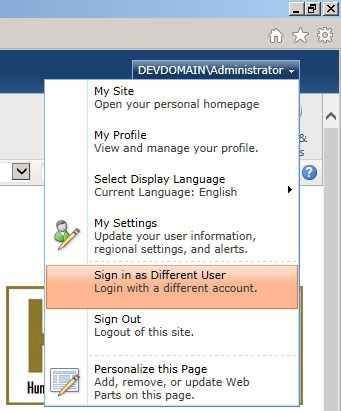 sign in as a different user sharepoint 2010