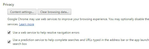 Geolocation Chrome Content Settings