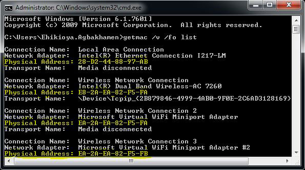 Get Mac Address Command Prompt