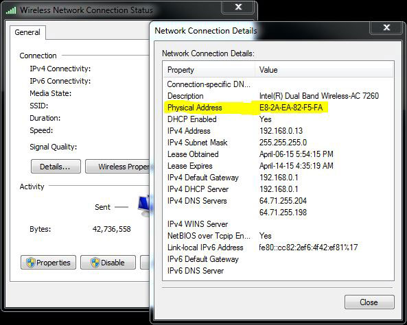 Network Connection Status Details MAC Address