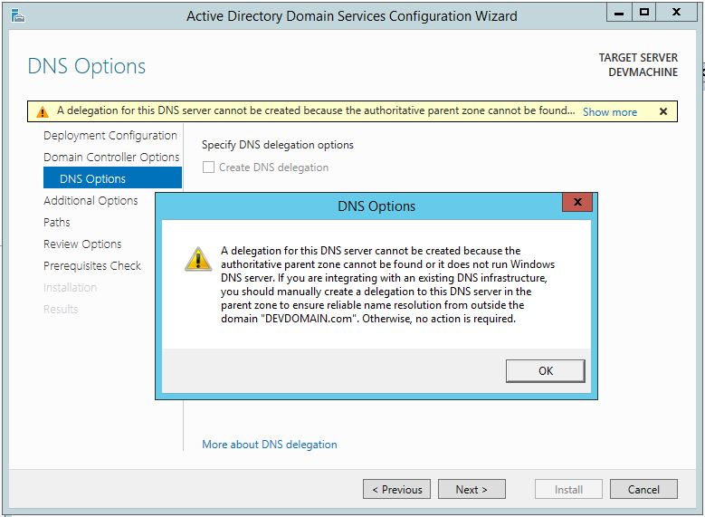 Promote Server 2012 R2 To Domain Controller (Delegation Warning)