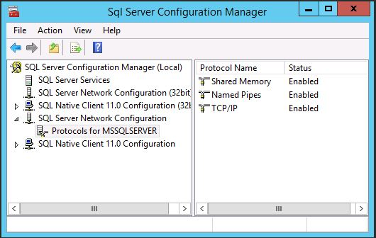 SQL Server 2014 SP1 Network Configuration (Protocols)