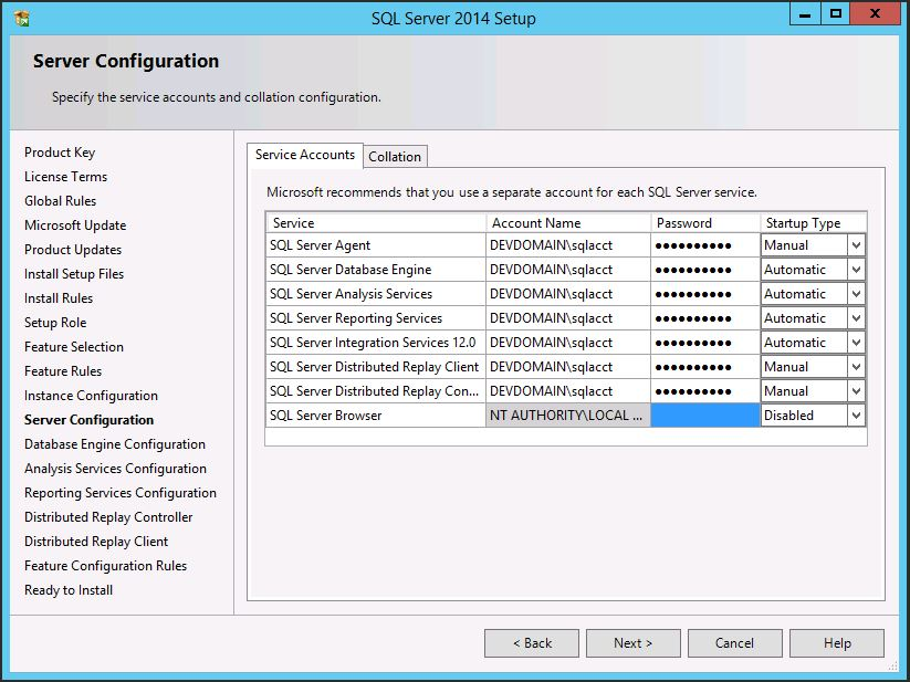 SQL Server 2014 SP1 Service Accounts