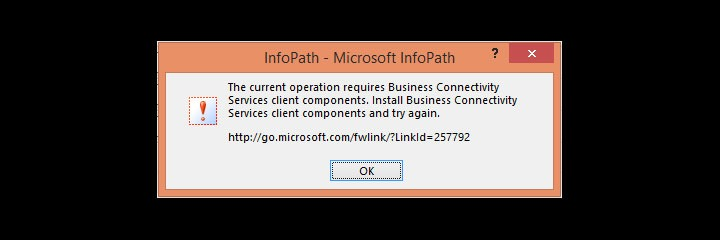 Error opening InfoPath document containing BCS data