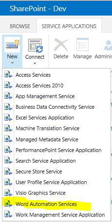 New Word Automation Services In SharePoint
