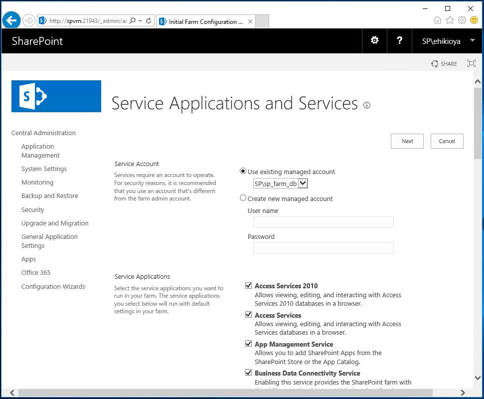 Central Admin Initial Farm Configuration SharePoint 2016 - Service Applications and Services