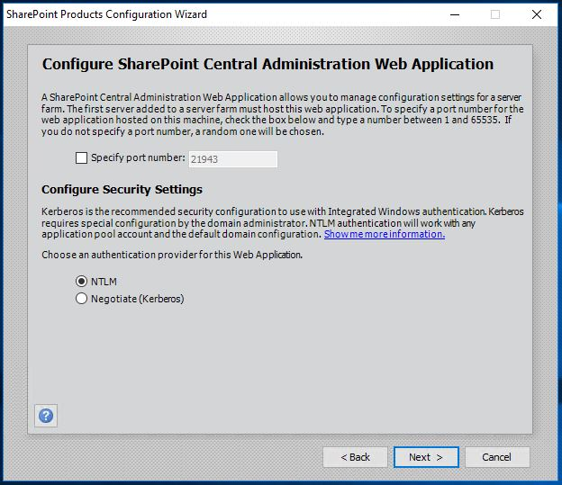 SharePoint 2016 Products Configuration Wizard - Configure Central Admin Web App