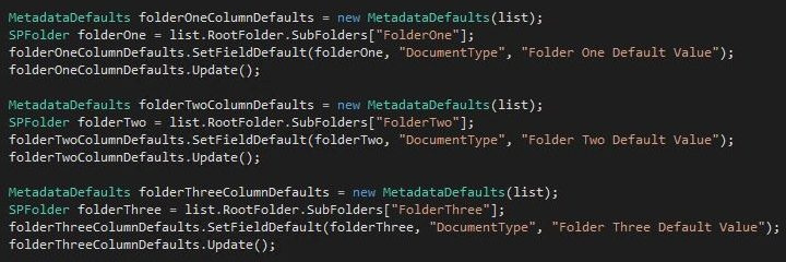 Default column values via code SharePoint 2016