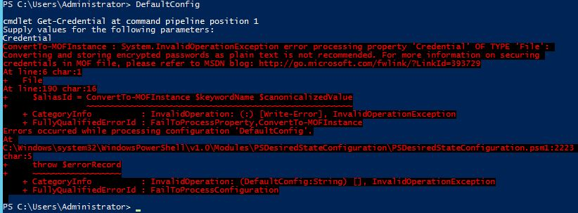 Error Compiling DSC Script With Missing Security Information
