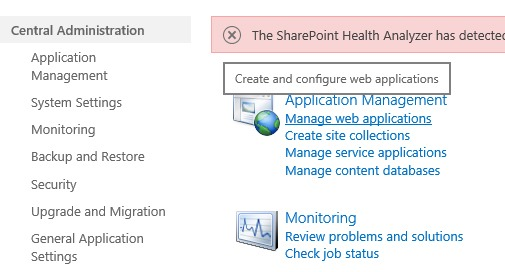 Manage Web Application SharePoint 2016 Central Administration