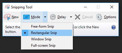 Screenshots In Windows 10 (Snipping Tool Mode Options)