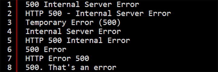 500 Internal Server Error - Various Messages