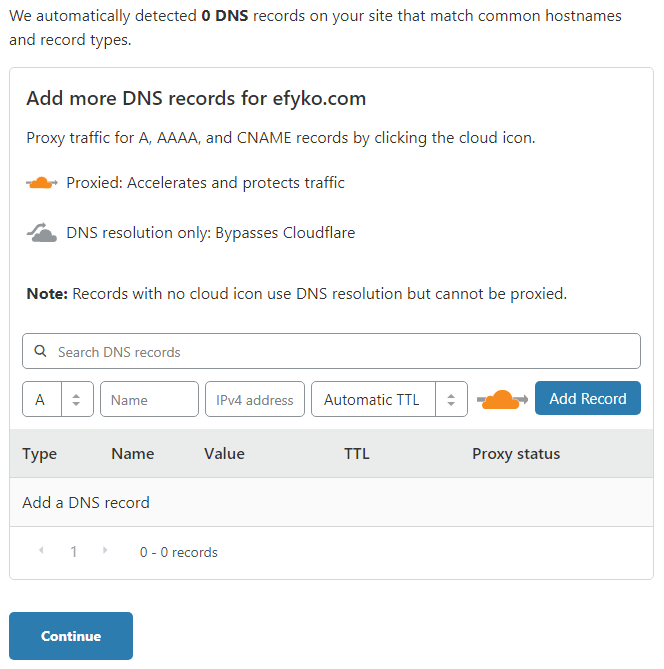 Cloudflare - Detect DNS Records