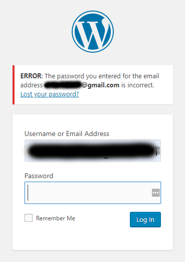 WordPress Login Error Message