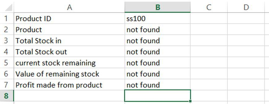 Product Vlookup