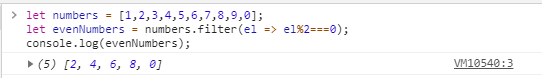 Filtering an array to produce even numbers